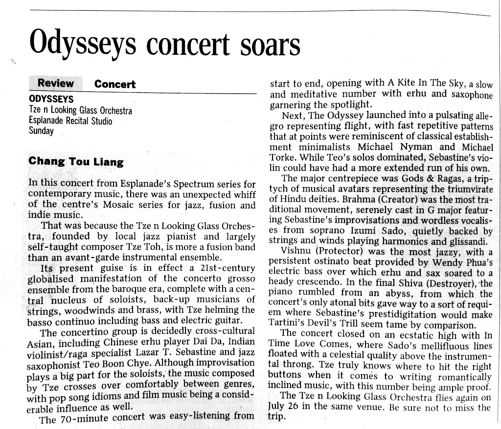 2014 The Straits Times review of concert Odysseys (part of Esplanade's Spectrum series)