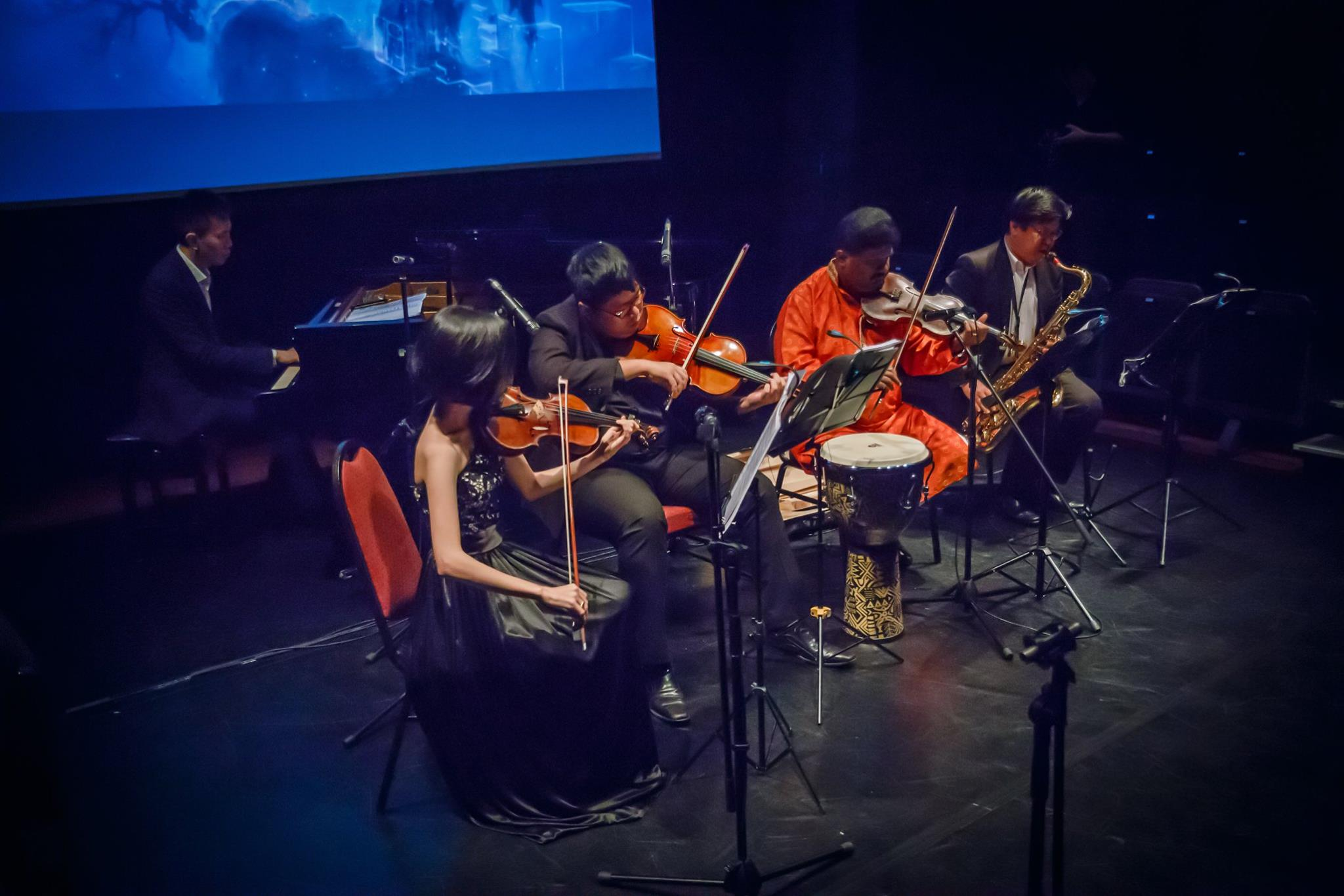 Featuring Christina Zhou (violin), Tze (piano), Teo Boon Chye (sax), Lazar T.Sebastine (Indian violin) and Benjamin Wong (viola) Story, music by Tze Toh 3D animation/CGI by Yixue Toh Photography by Teh Ting Ting  More photos  here