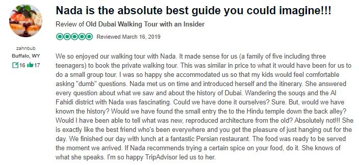 Wander with nada tours in dubai guest review