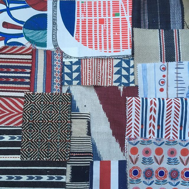 I was recently asked to source an ottoman fabric in red white and blue for a playroom. Look what I found and keep finding! Watch this space for the final choice..... #redwhiteandblue #colourcombo #floralfabric #stripedfabric #upholsteryfabric #londoninteriors #interiordesign #fabricsourcing