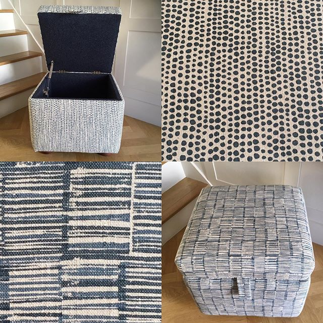 Very excited to pick up these gorgeous Arthurs upholstered in @raptureandwright fabric and lined in an indigo wool. I have been really looking forward to seeing these and love that the fabrics are all printed by hand in the UK using traditional techniques. #interior #interiordecorating #interiorinspo #blueinterior #bluefabric #britishmade  #interiordetails #storagefurniture #upholstery #bespoke #handprinted #sarahbeechottomans #handmade