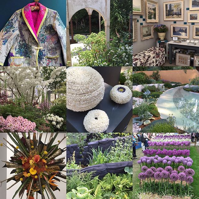 A few highlights from an incredible day @the_rhs_ chelsea flower show. Inspiration at every corner. Loved all the greens and pops of colour. Incredible gardens and jaw dropping floral displays. #nofiltersneeded #artisans #chelseaflowershow #britishmade #gardendesign #sarahbeechottomans
