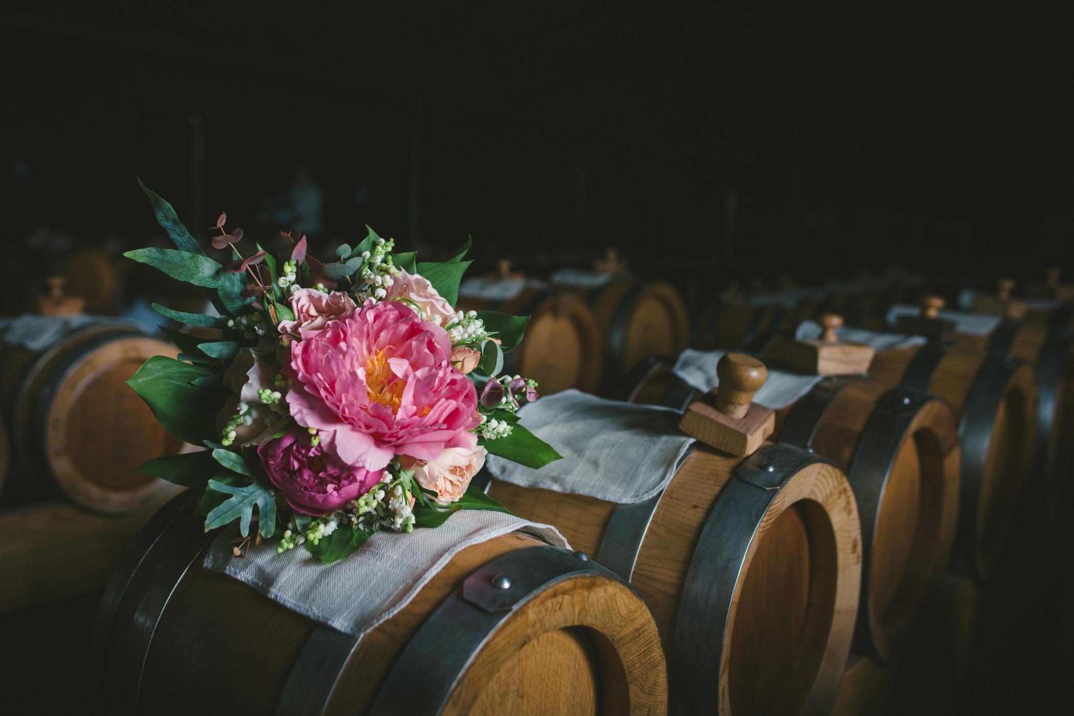 wedding bouquet balsamic barrels