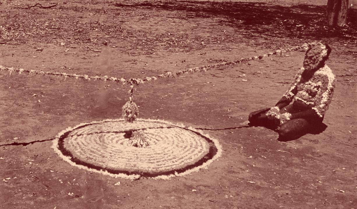 La boule centrale symbolise l'estomac du bandicoot, petit kangourou. Deux hommes tournent à genou autour des cercles en plumes.