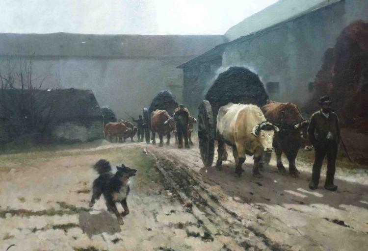 A la fin de l'hiver, il faut curer les étables, et transporter le fumier dans les champs pour engraisser les sols. A l'aide de vaches. La vapeur s'échappe du fumier en pleine fermentation, en plein compostage.