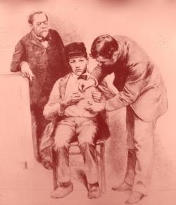 Pasteur n'étant pas médecin, il ne pouvait prendre la lourde responsabilité d'injecter les premiers vaccins chez l'homme.