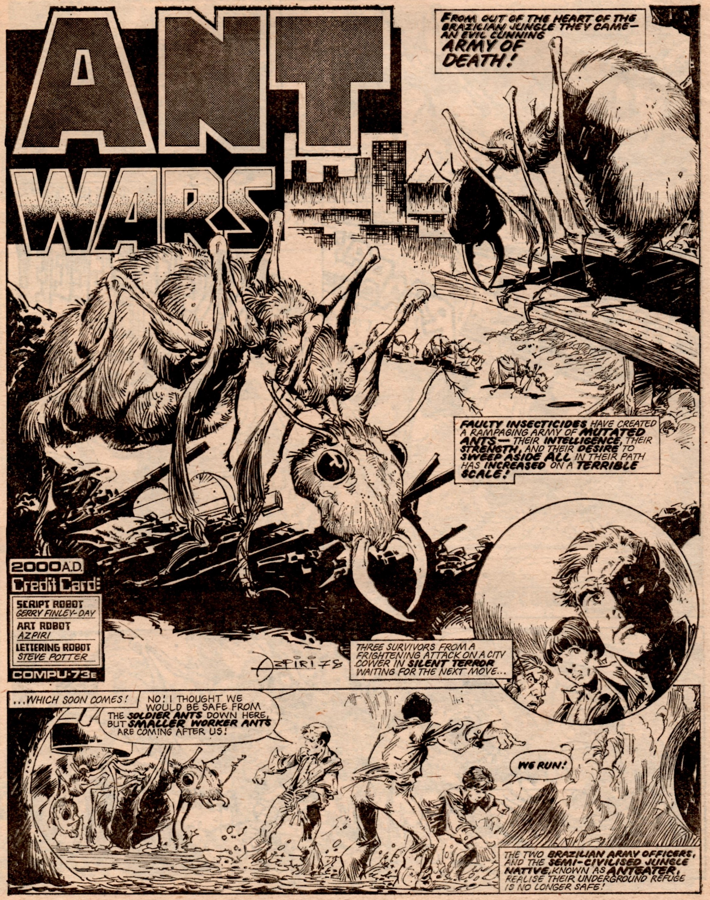 Ant Wars (2000AD, Prog 78, 19 August 1978): Gerry Finley-Day (writer), Azpiri (artist)
