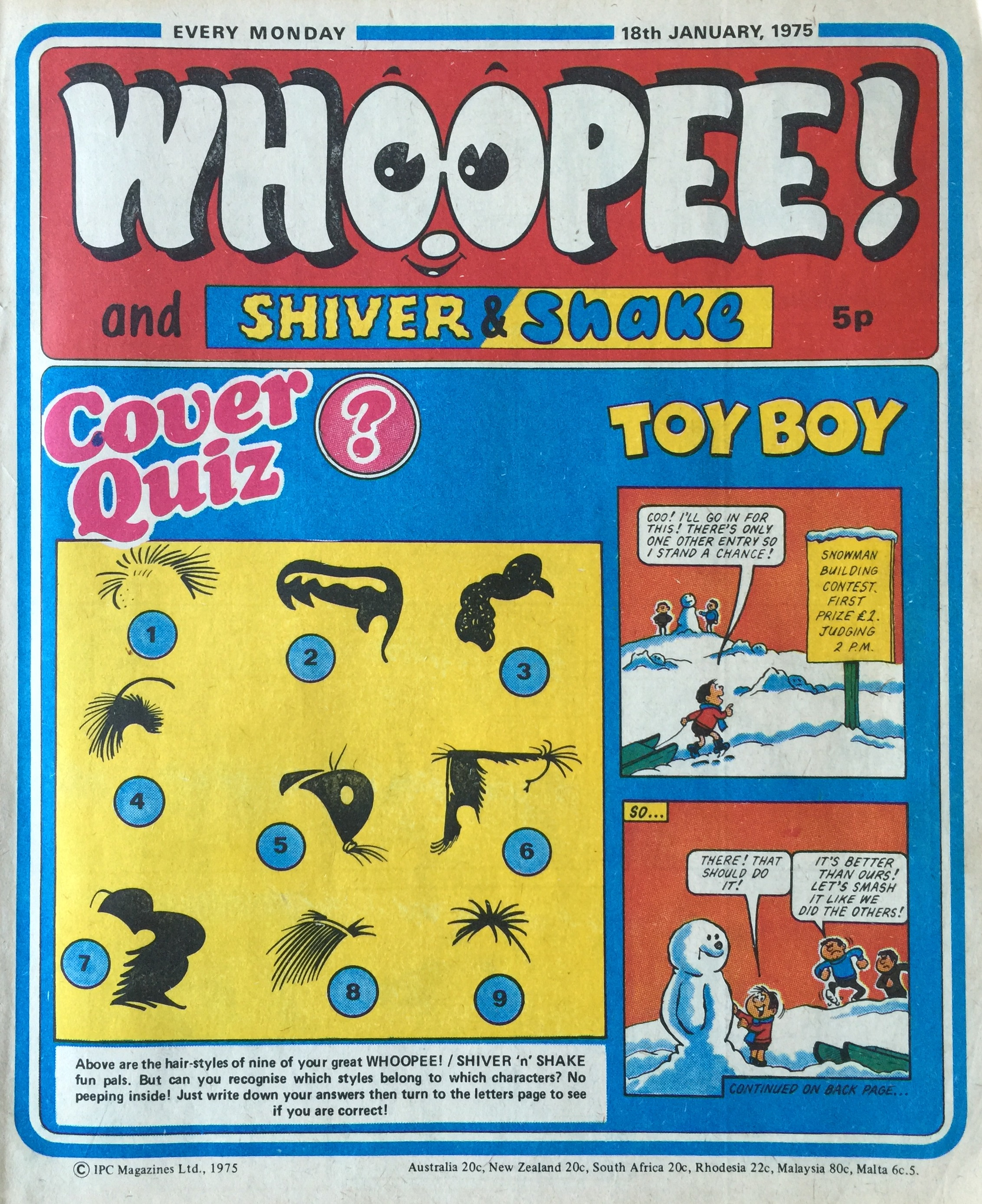 Whoopee! and Shiver and Shake, 18 January 1975; Toy Boy: Terry Bave (artist)