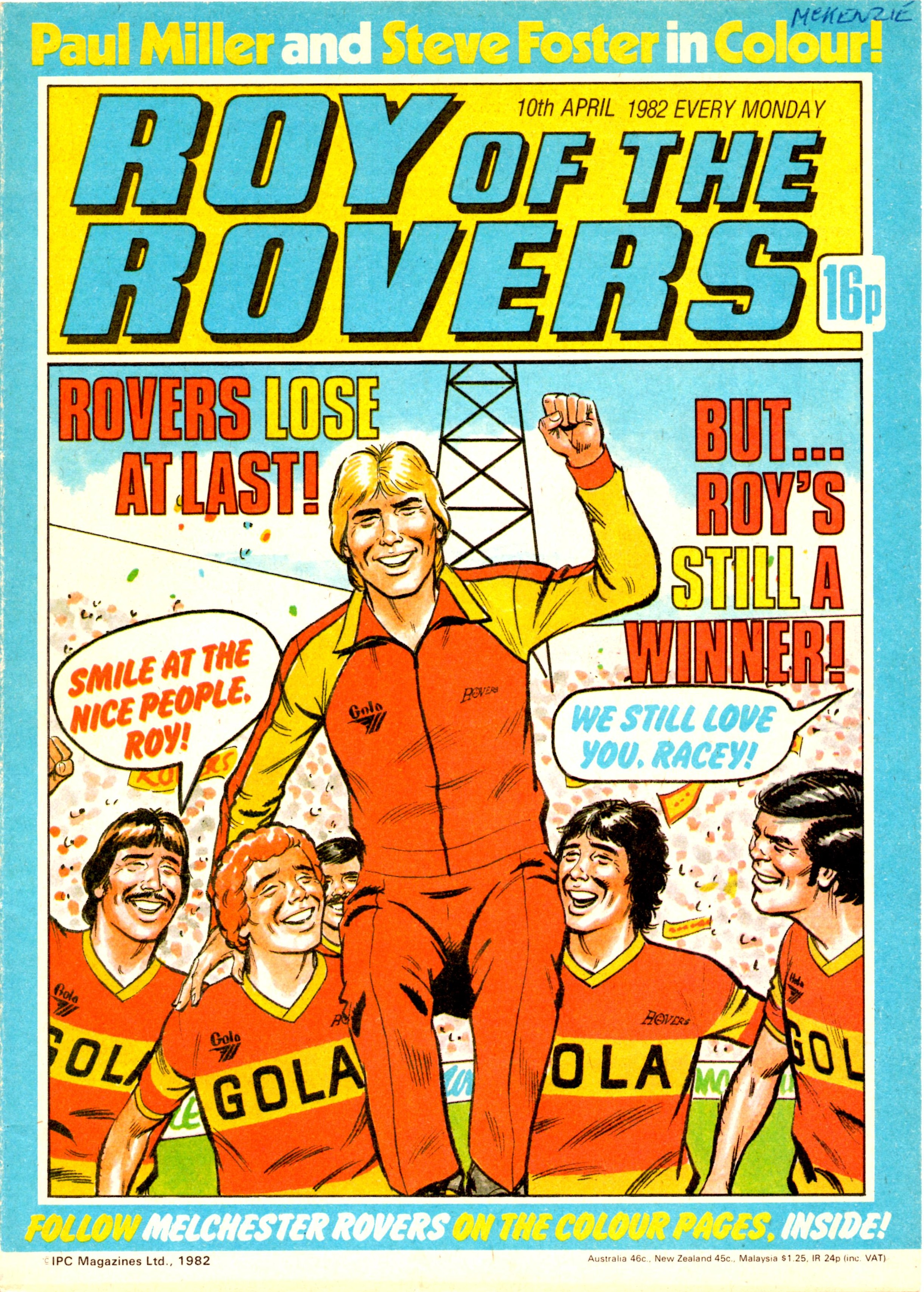Old comic cover Poster reproduction Roy of the Rovers