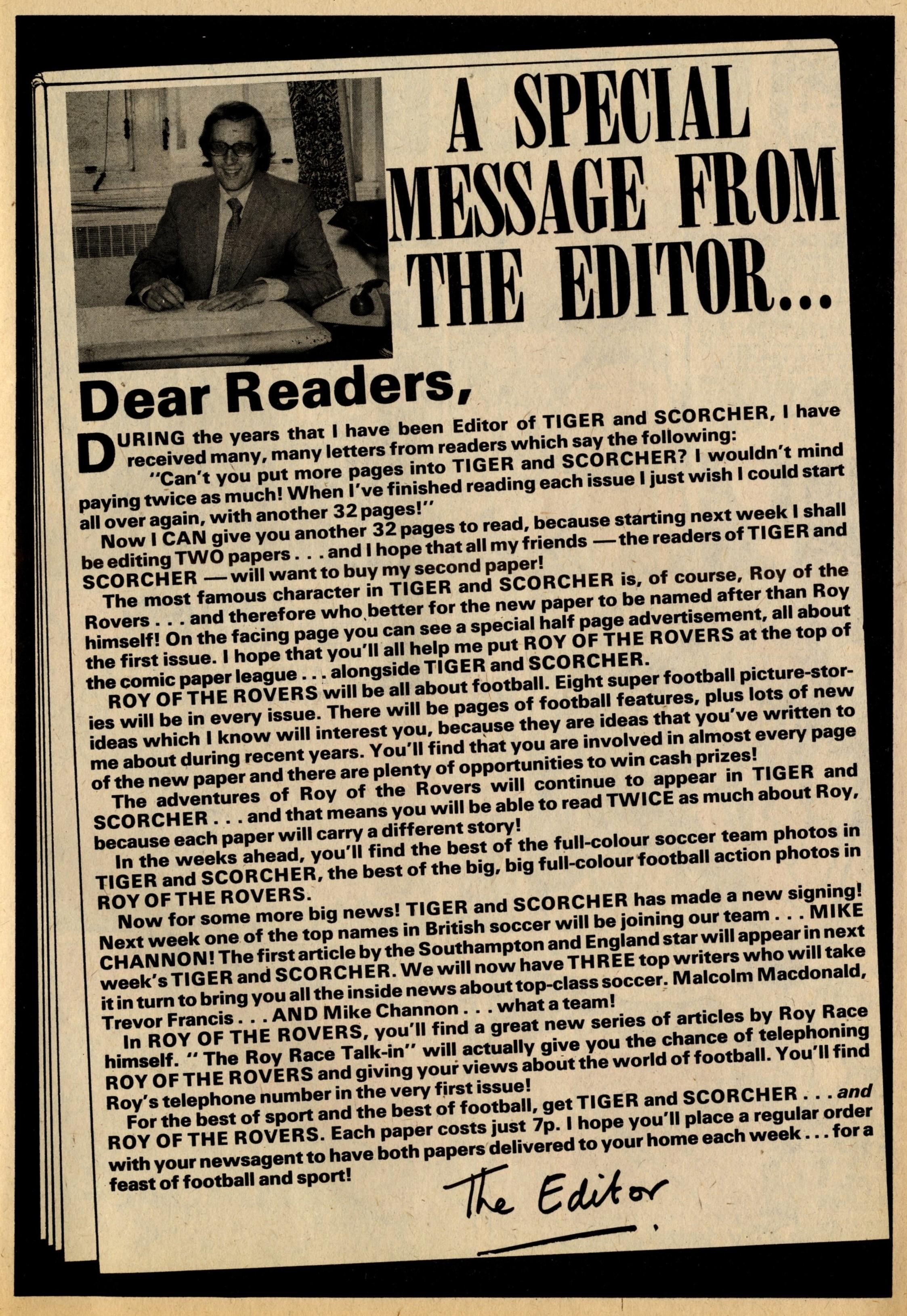 Barrie Tomlinson's editorial, Tiger, 18 September 1976