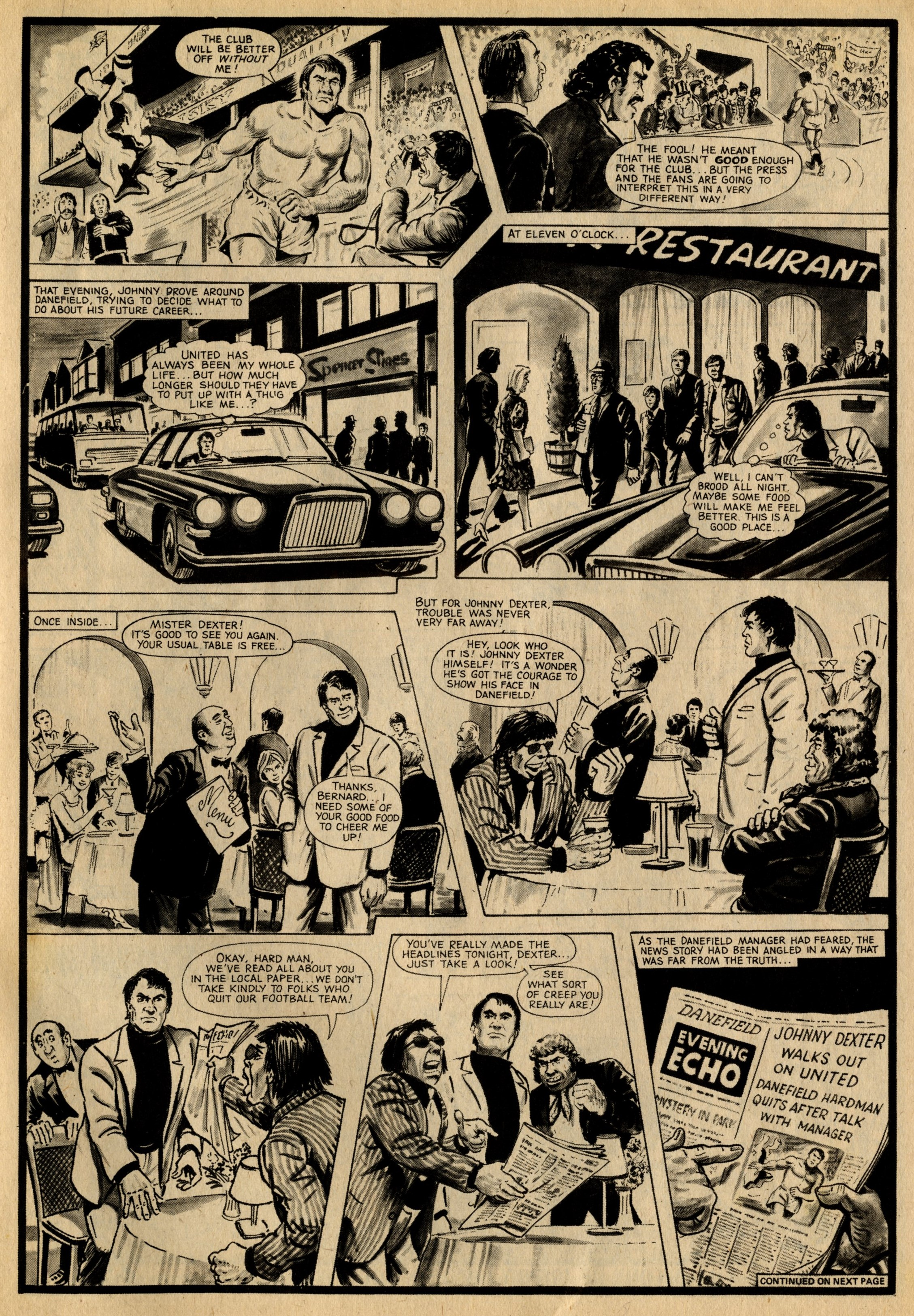 The Hard Man, episode two, Roy of the Rovers 1 October 1976: Barrie Tomlinson (writer), Doug Maxted (artist)