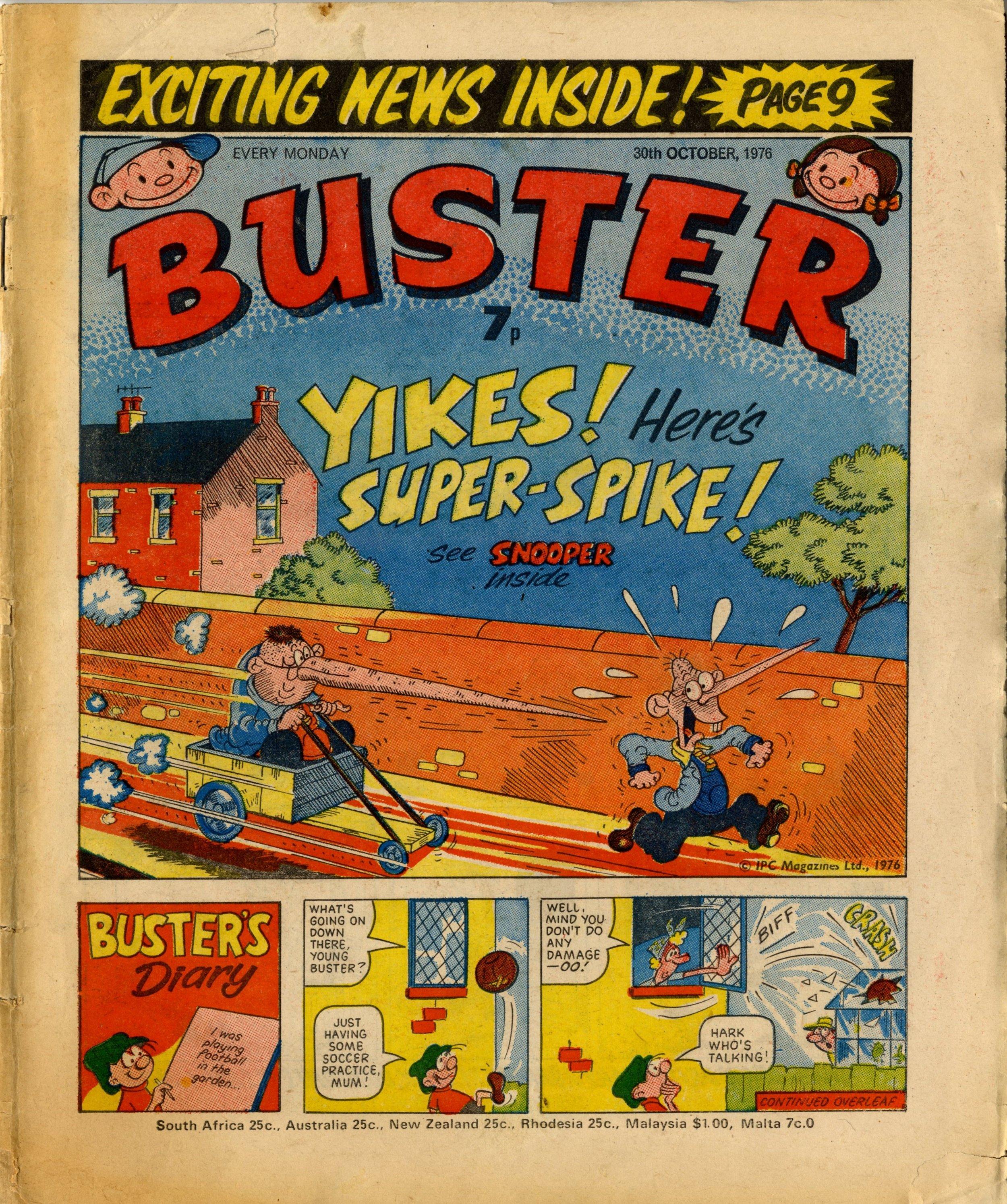 Buster, 30 October 1976; cover artwork: Leo Baxendale (Snooper), Reg Parlett (Buster's Diary)