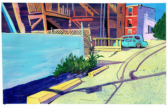 """Favored Parking Block #3, mixed media on paper, 8"""" x 12"""""""