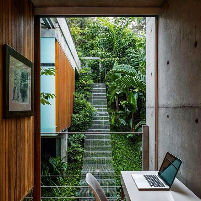 Absolutely in love with this stunning natural fusion of a tropical treehouse design. The stairs floating over the greenery creates the most amazing feeling of fitting into the landscape with both form and function.  Image via: @adesignersmind