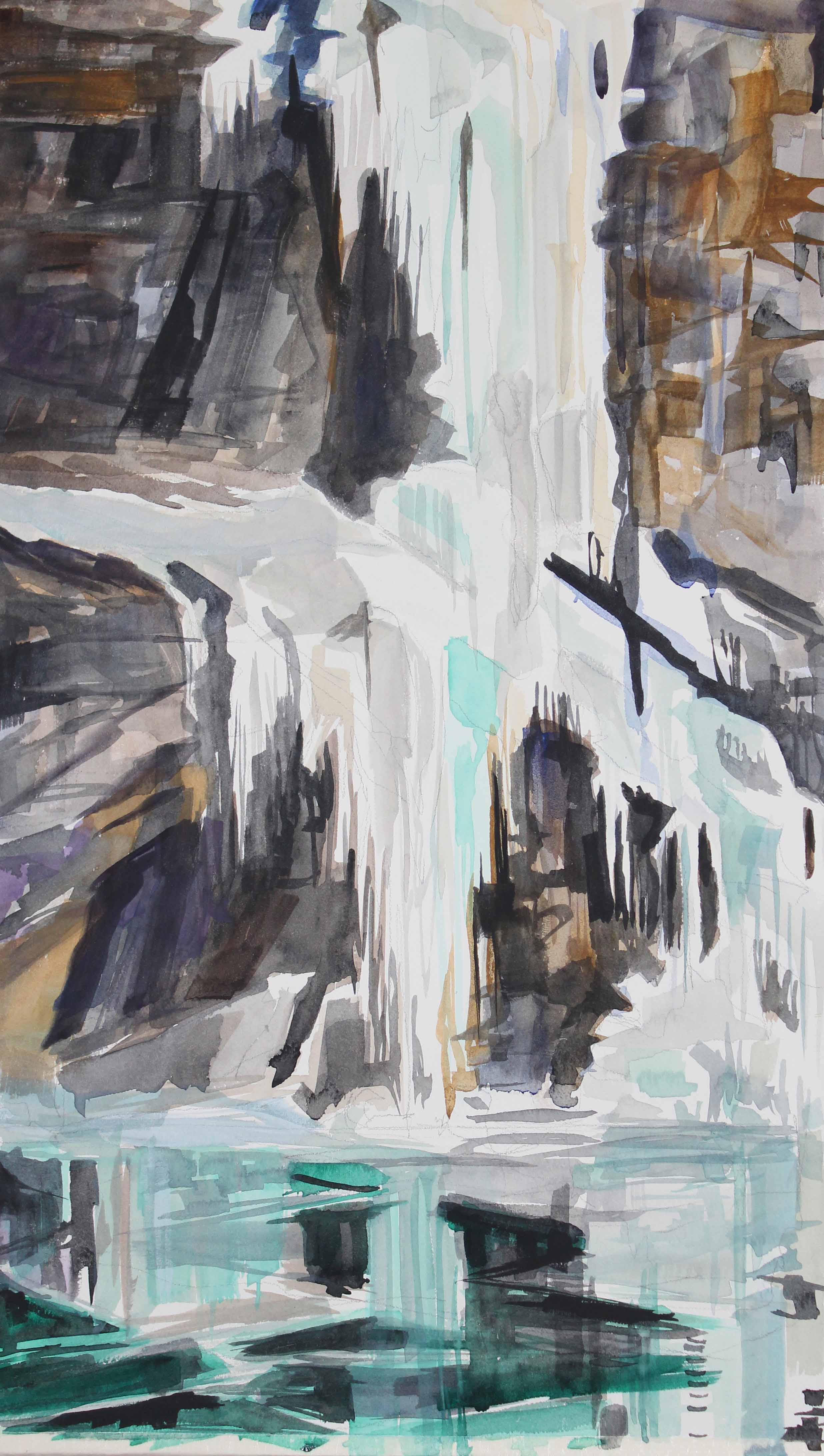 Palisades Ice Fall, watercolor, 12 x 20 in.