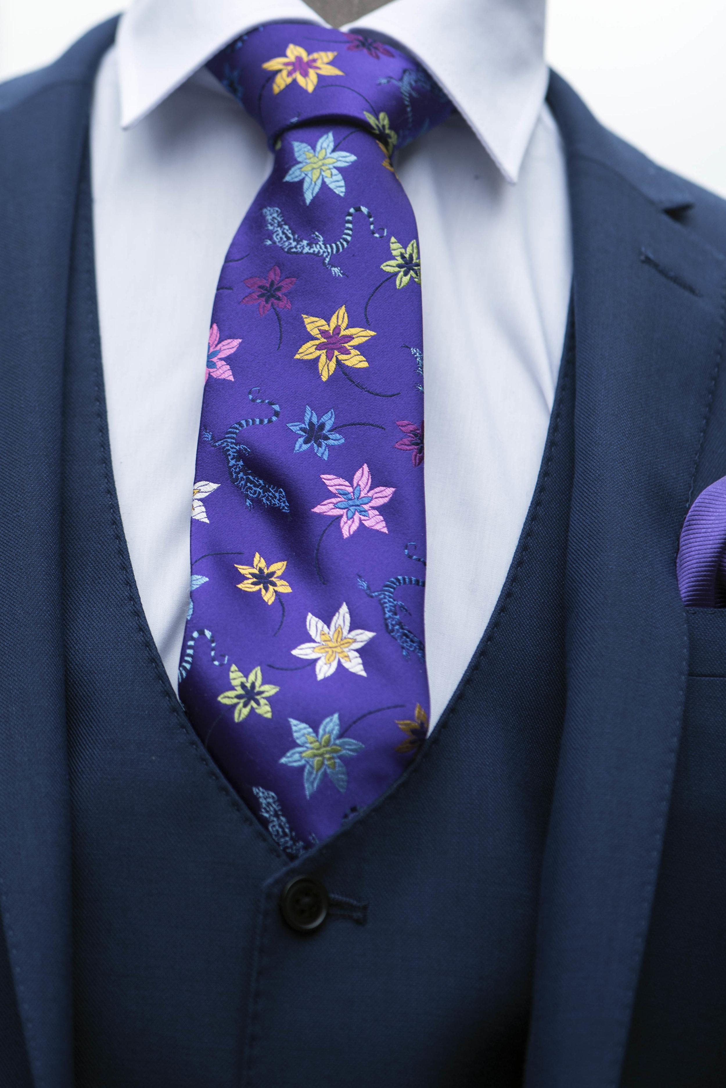 Purple flowery men's tie Hereford.jpg