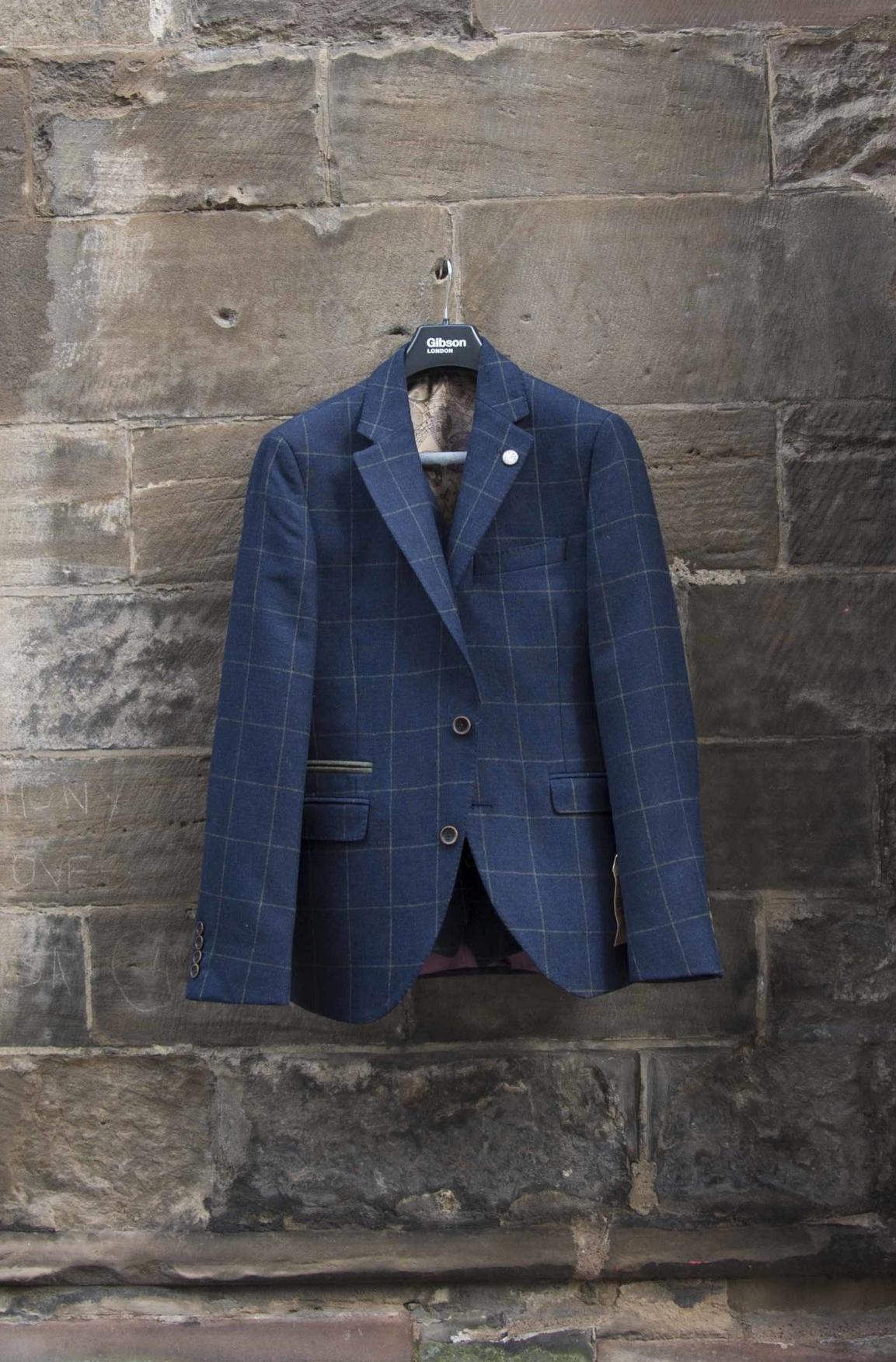 Fashionable man's blue tweed jacket