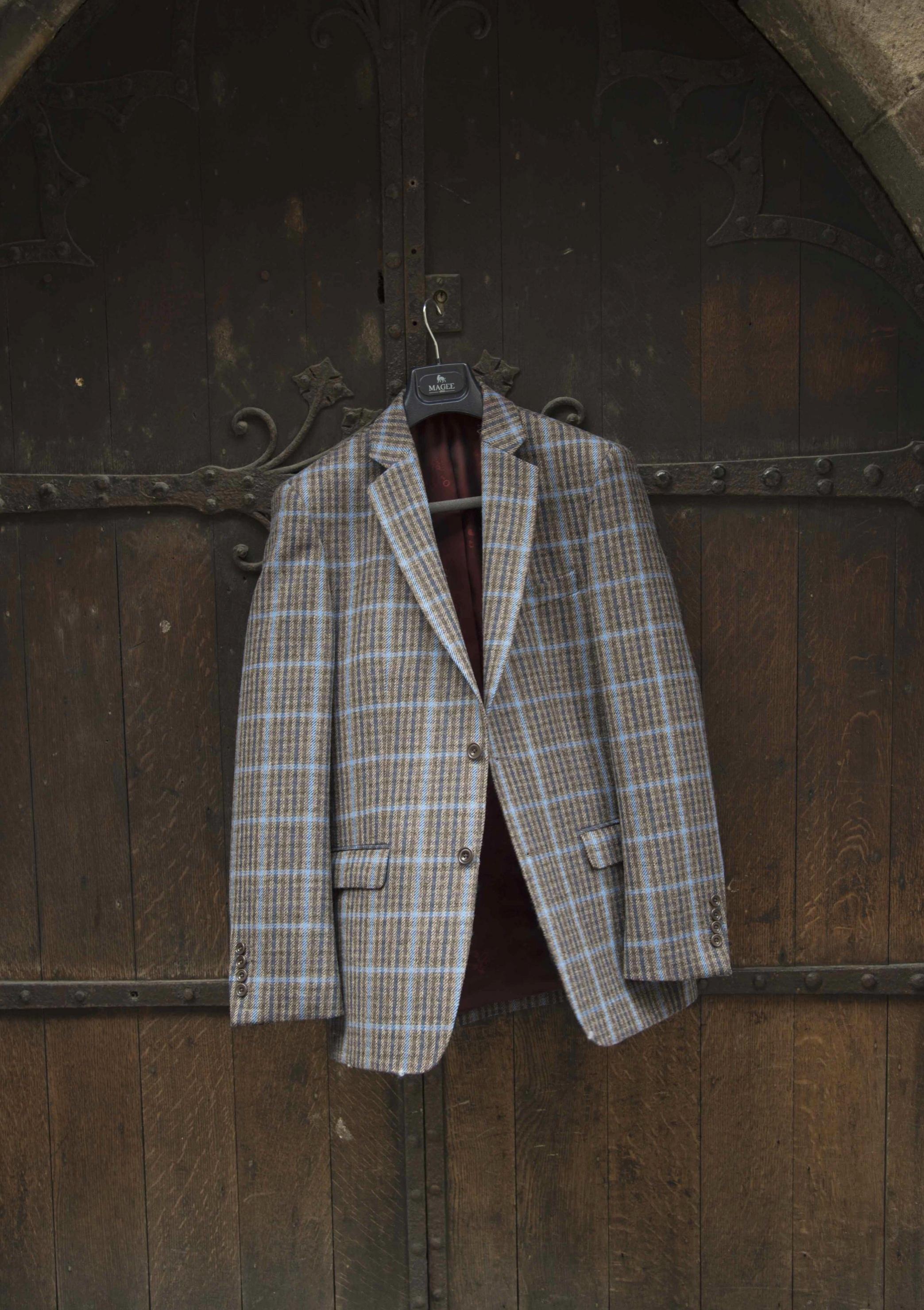 Cream patterned tweed men's jacket