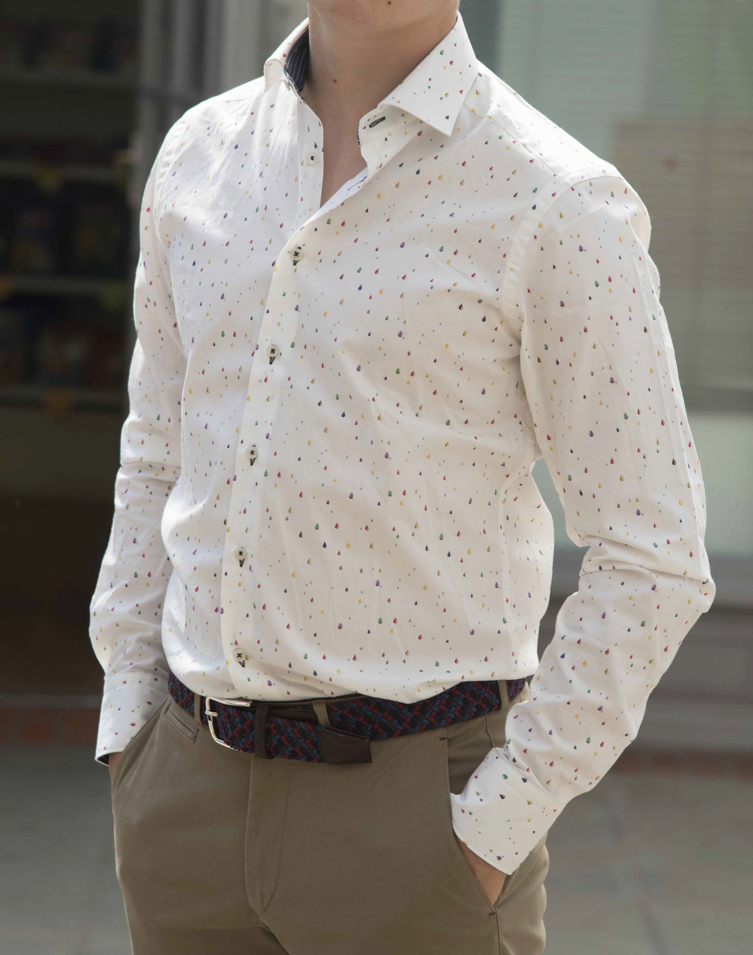 Men's cream shirt with coloured dots.jpg