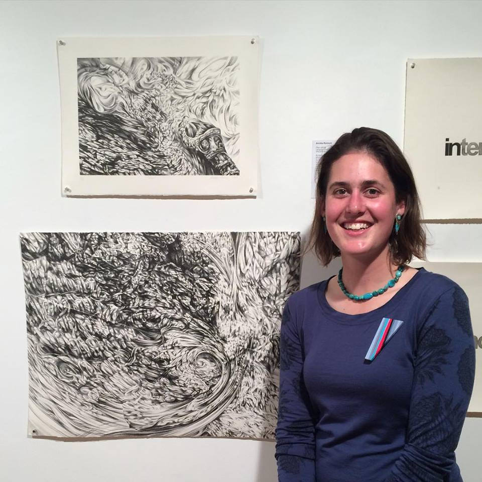 With my lithographs  Flux  (top) and  Spiral  (bottom) at the exhibition opening