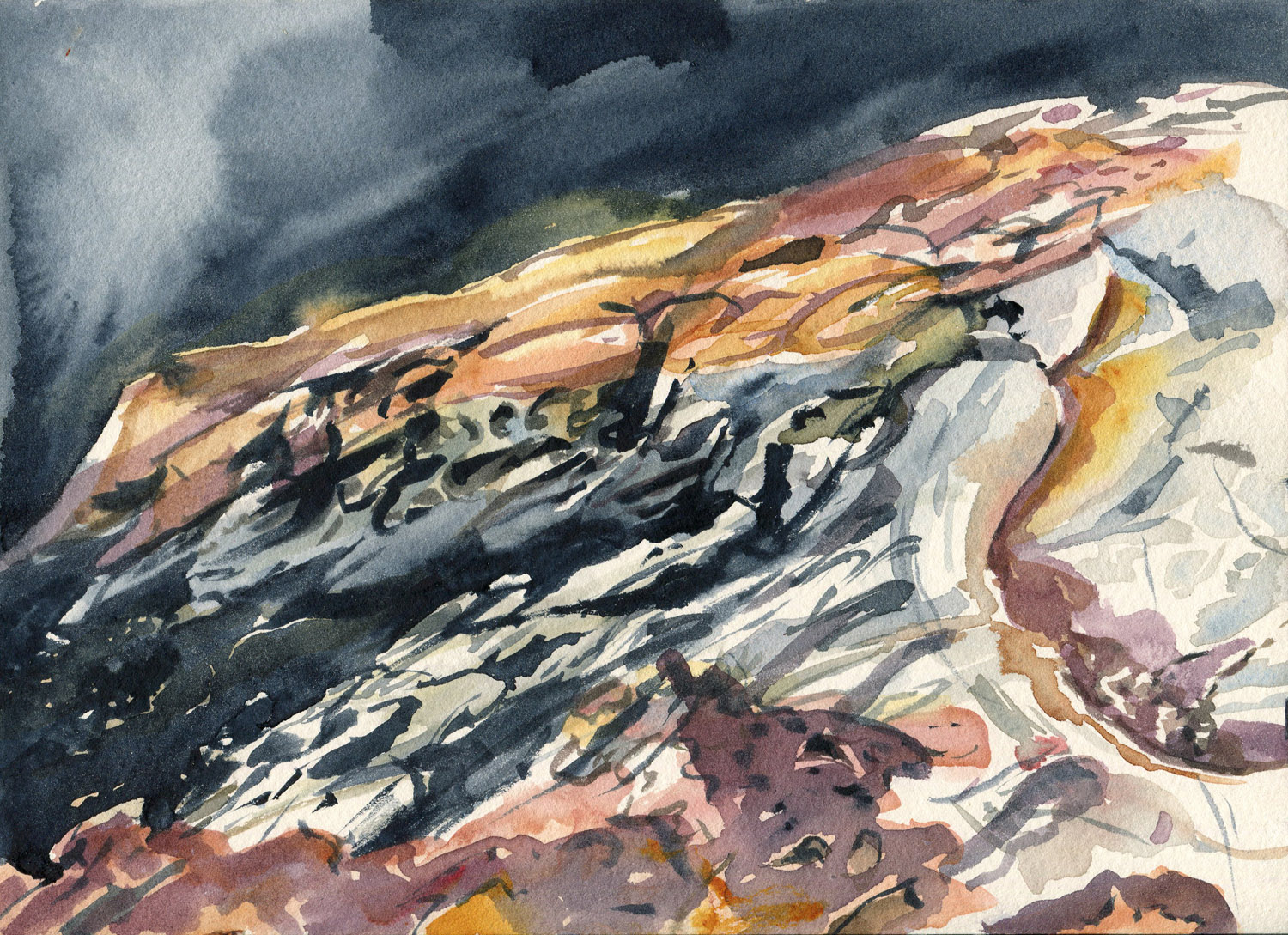 Field Studies (Bittangabee Bay, Ben Boyd National Park 1), watercolour on paper, 18cm x 25cm, 2014