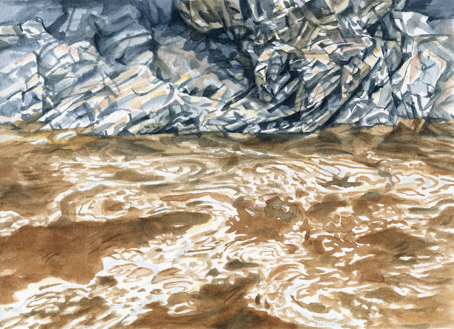 Field Studies (Red Rocks Gorge, Murrumbidgee River 2), watercolour on paper, 18cm x 25cm, 2015