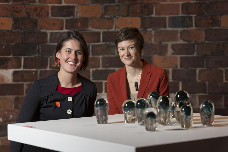 Annika Romeyn & Emilie Patteson, GLINT Exhibition, Canberra Glassworks, 2014 (photo by Adam McGrath)