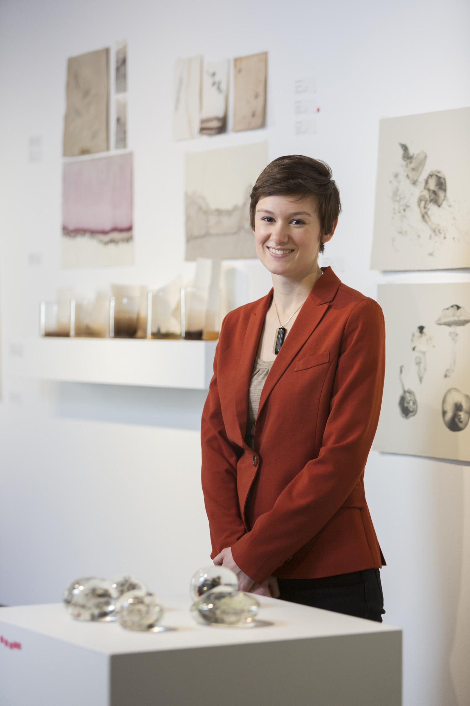 Emilie Patteson, 2014 (photo by Adam McGrath), Canberra Glassworks GLINT exhibition install
