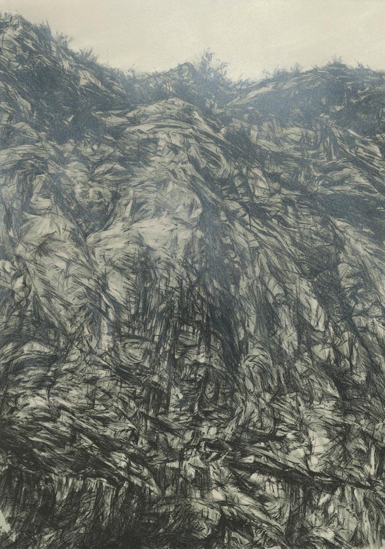 Fog Descends II, lithograph, pastel and gouache, 56 x 36 cm, unique state, 2012