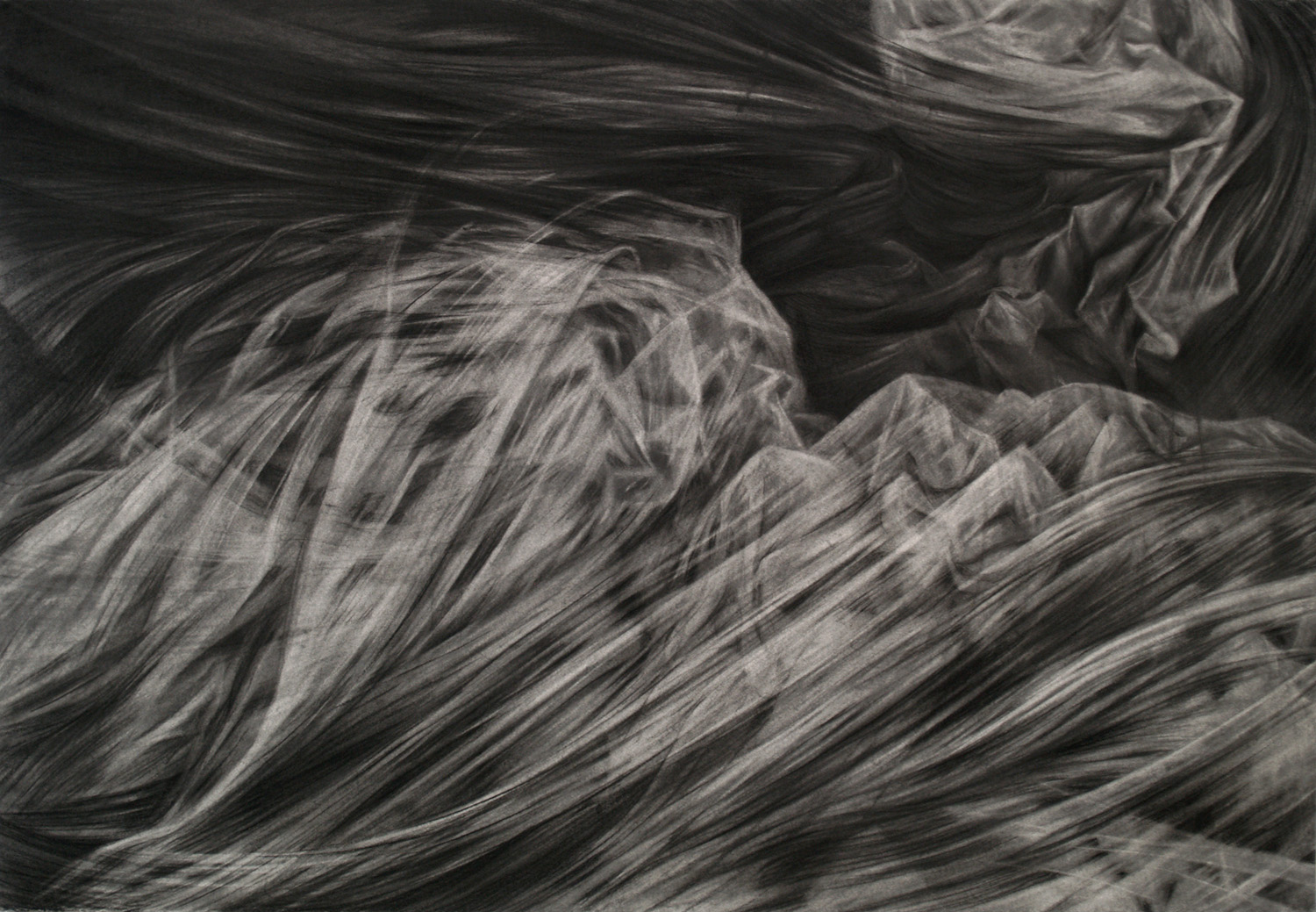 Shift, charcoal and graphite, 76 x 102 cm, 2012