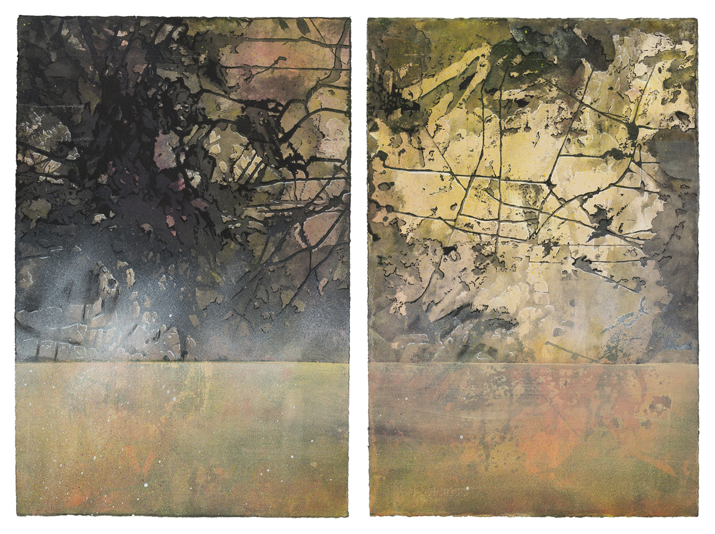 Waterline, acrylic, ink and shellac on paper, 56 x 77 cm, 2013 (photo by Dean Butters)