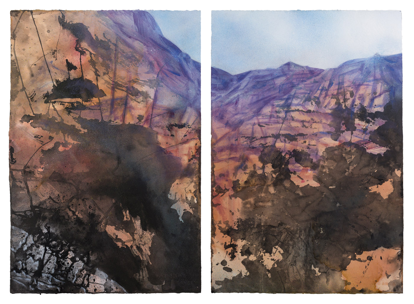 Below the Rim, acrylic, ink and shellac on paper, 56 x 77 cm, 2013 (photo by Dean Butters)