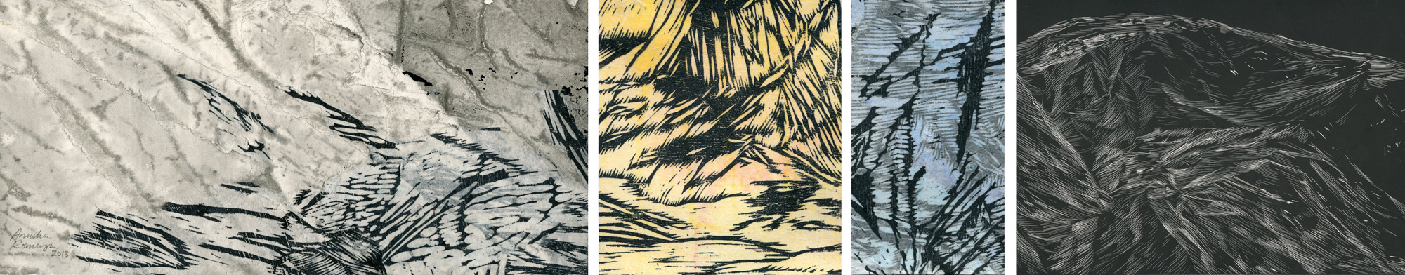 Moments, ink, woodcut and scratchboard, 12 x 65 cm, 2013