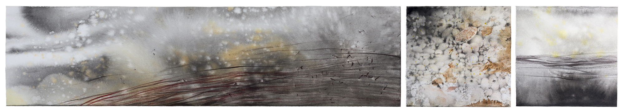 River Stones, ink, pastel and graphite on paper, 20 x 120 cm, 2013 (photo by Dean Butters)
