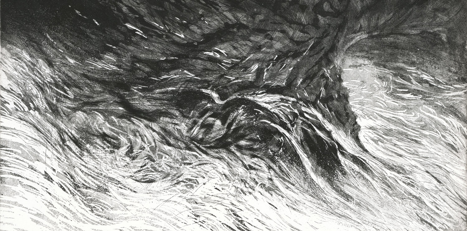 Falls, etching, 38 x 56 cm, edition of 10, 2012