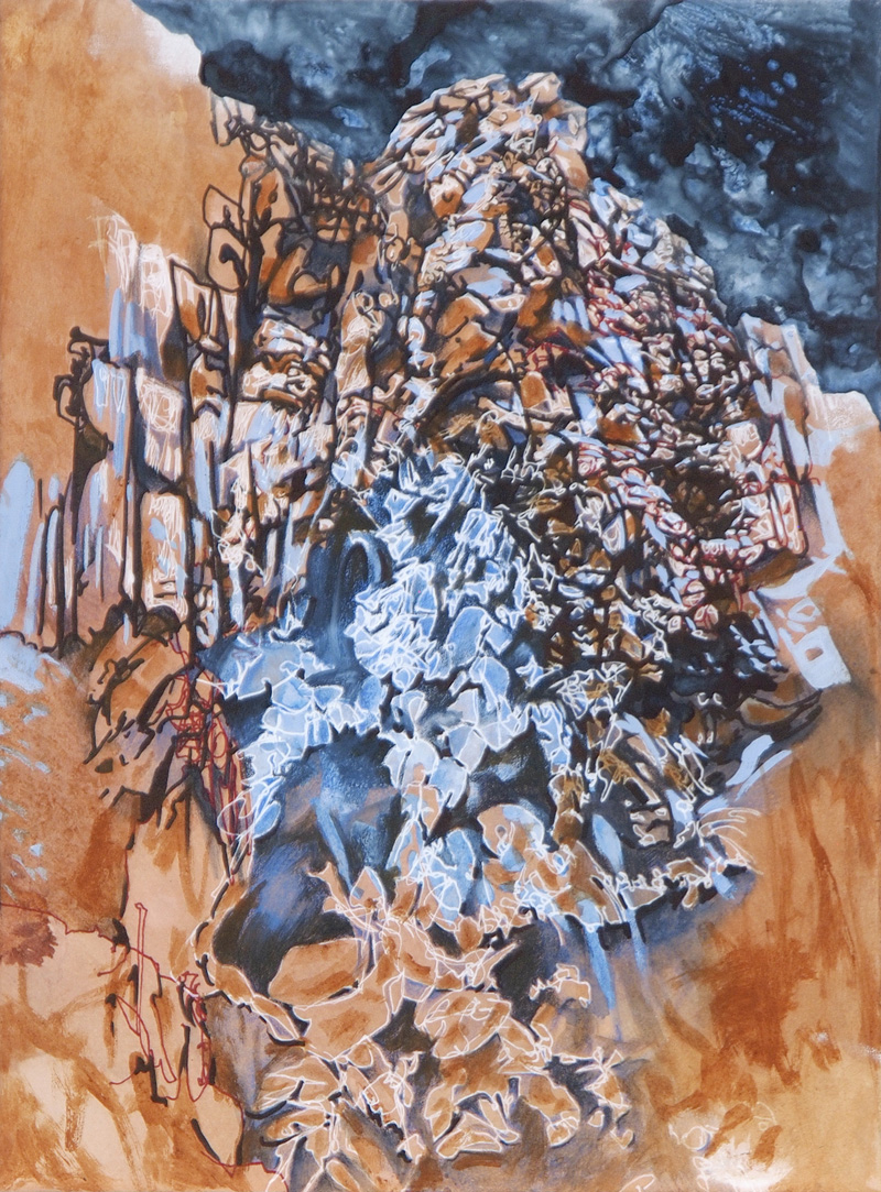 Collapsing, 2015, mixed media on paper, 38.5cm x 28.5cm
