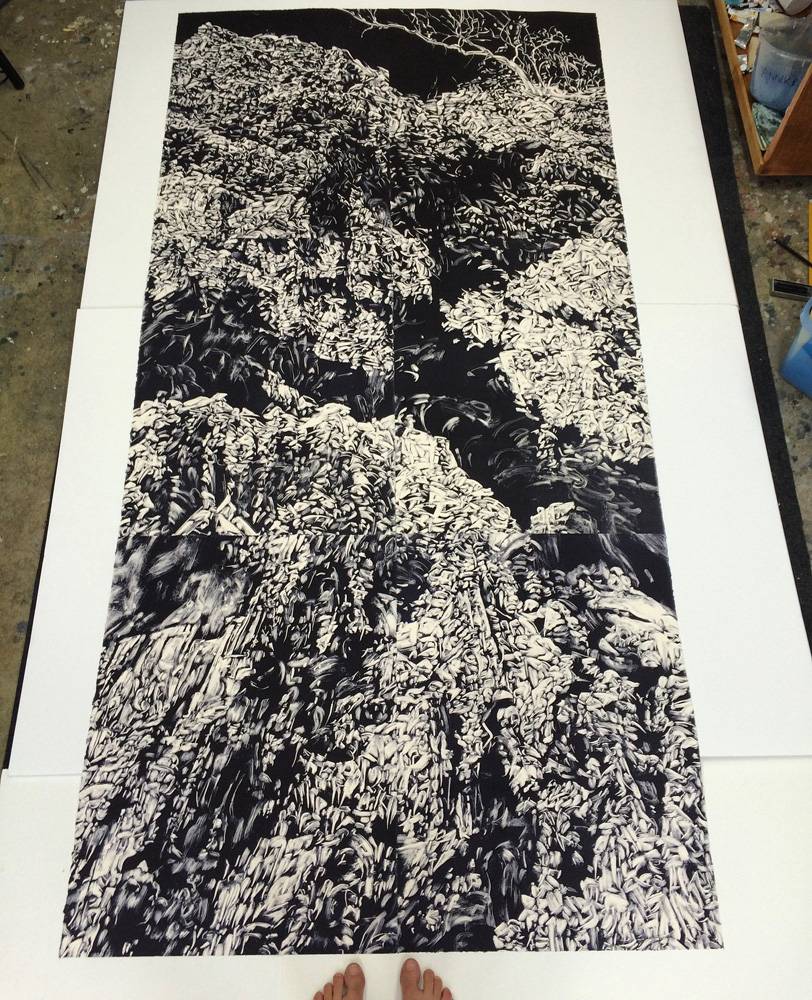 'Precipice', 2016, monotype on paper, 228cm x 112cm (with feet for scale!)