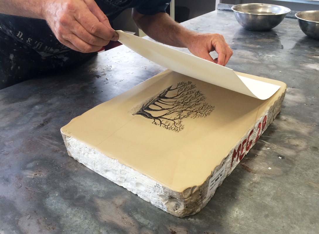 assisting enthusiastic Bonsai artist Mike with lithography!
