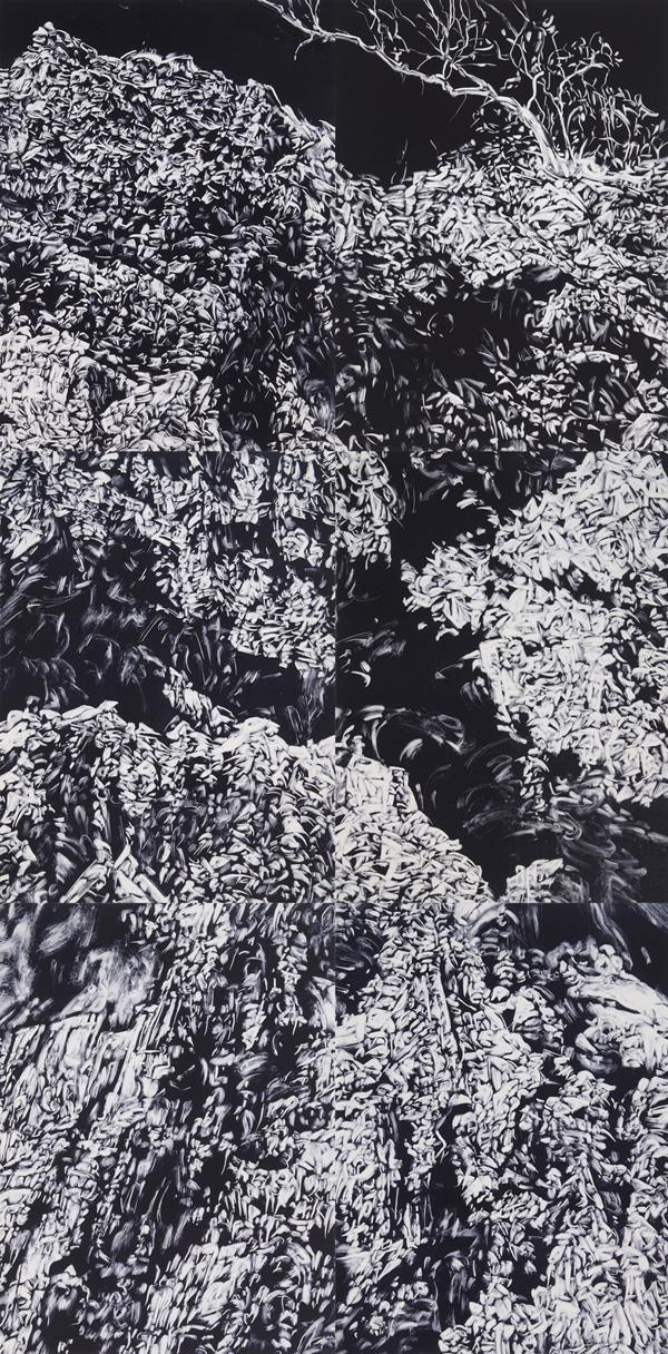 Precipice, 2016, monotype on paper, 228cm x 112cm