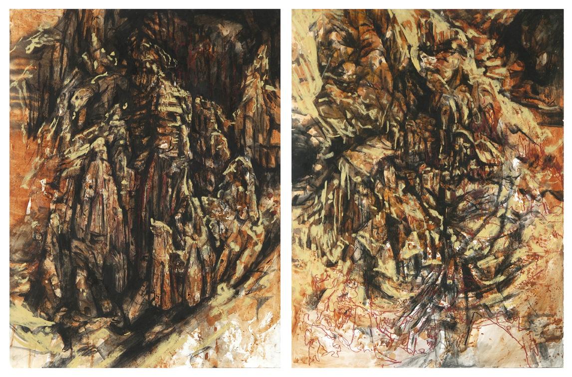 Annika Romeyn 'Golden Gully (Rise & Fall)', 2015, soil, charcoal, oil stick, oil pastel, ink, shellac, 76cm x 114cm