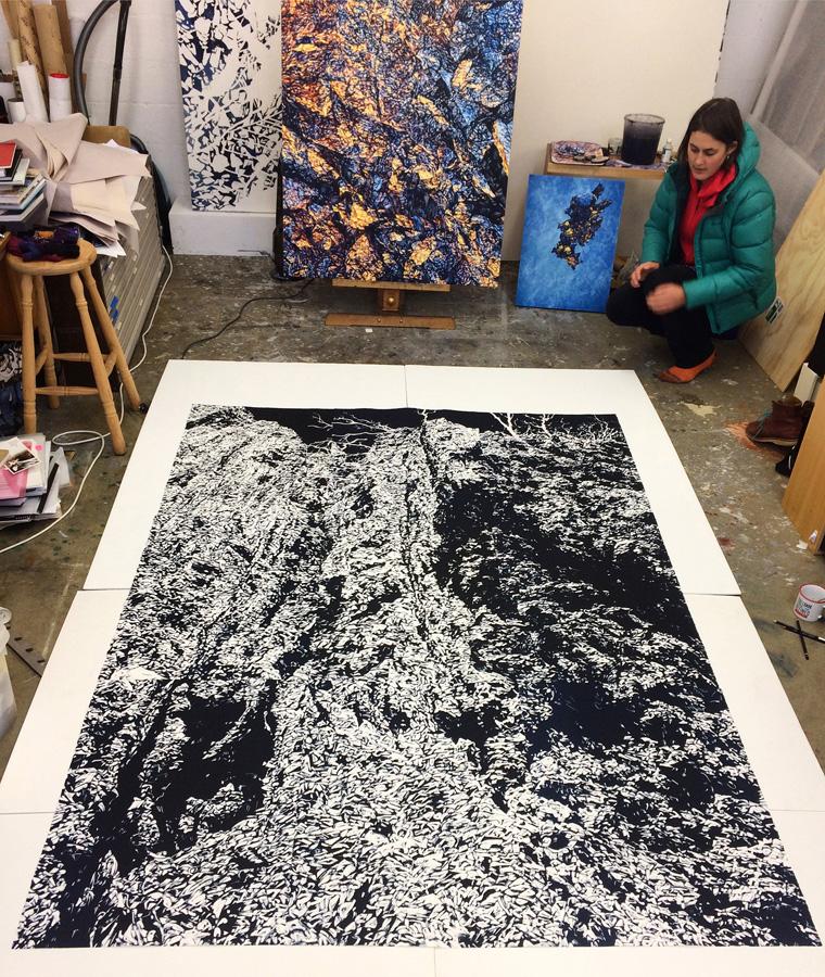 Chasm 1 (in studio), 2017, monotype on paper, 228cm x 168cm