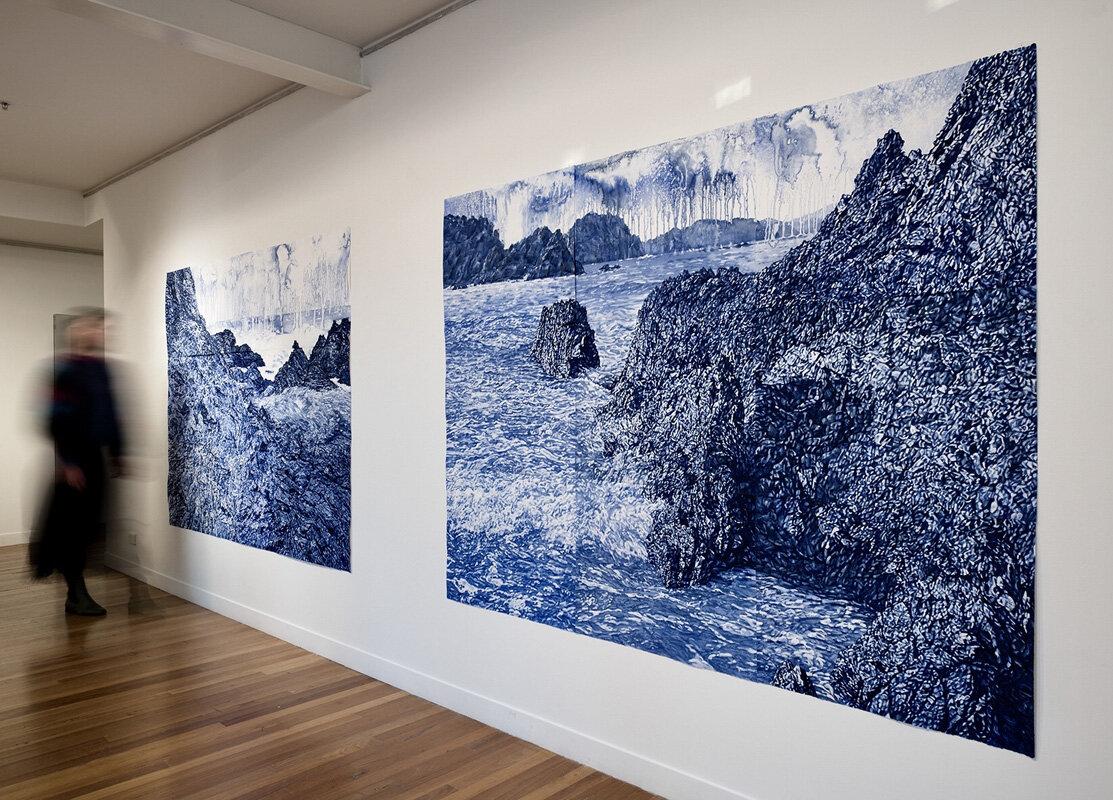 Endurance  solo exhibition install, 2019, Megalo Print Studio & Gallery, watercolour monotypes on paper, each 168cm x 228cm, photo by Brenton McGeachie.