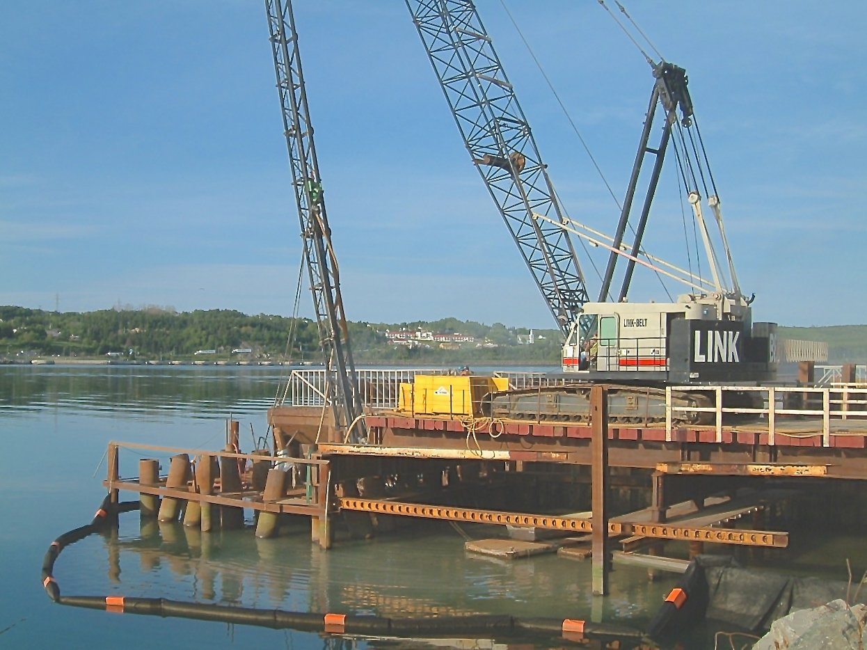 Pile Installation from Temporary Trestle, Marine Terminal Upgrade at Martin Marietta Materials, Auld's cove, NS