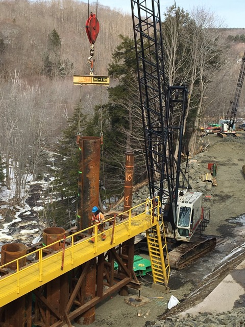 Setting piles in the Bear River Template