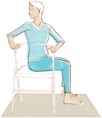 Bharadvajasana (using a chair).  Illustration from  Asana for the Ages  by Marla Apt, republished by Feathered Pipe Foundation.
