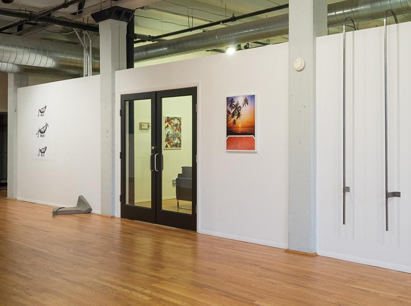 Laura Hart Newlon & Kate O'Neill, Slump, 2014;  50s Barkcloth Jungle Palms Vintage Exotic  and Jeff Prokash,  Untitled (Concrete Slump) , 2014;  Untitled (Ladder) , 2014