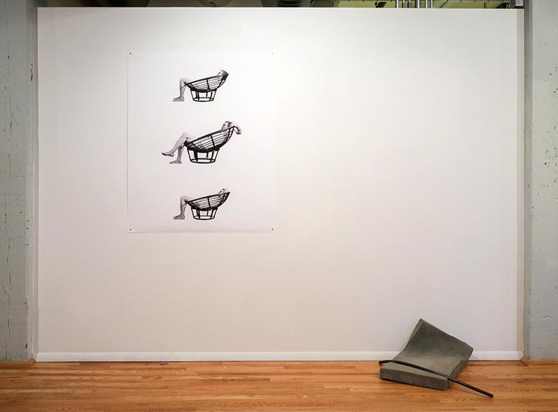 Laura Hart Newlon & Kate O'Neill,  Slump , 2014 and Jeff Prokash,  Untitled (Concrete Slump) , 2014