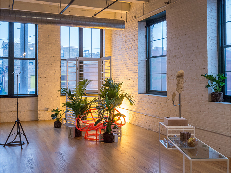 Laura Hart Newlon & Kate O'Neill,  Draperies and Palm Trees, Tapestries and Easels , 2014 and Alex Chitty, Slow death of a namesake (Unite #3), 2014