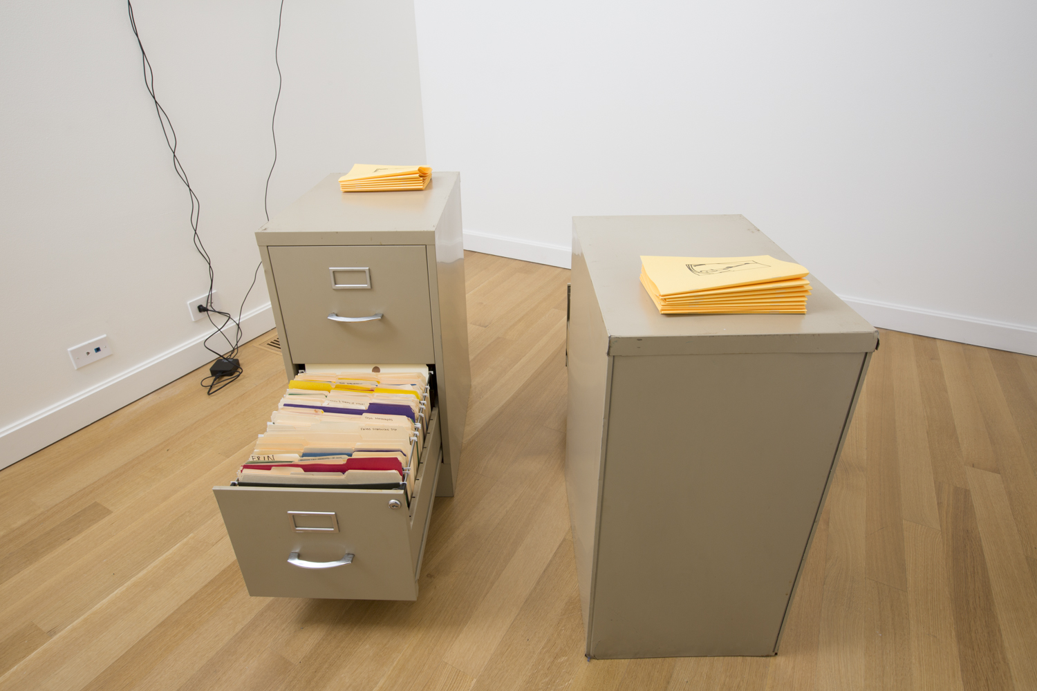 Stephen Kwok,  Lunch Break Play , 2016, and Kelly Lloyd, File Cabinet Full of Rorschach Blots Made with Acrylic Paint the Color of My Skin Inside File Folders  , 2014-15.