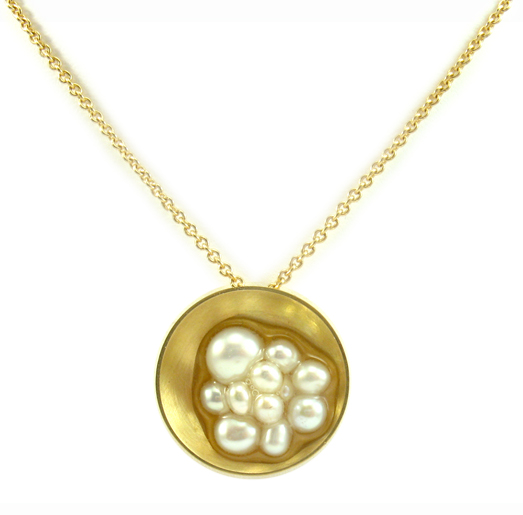 18k gold, pearls, resin, 15 x 15 x 4 mm on 16 in. chain 18k gold $965.00
